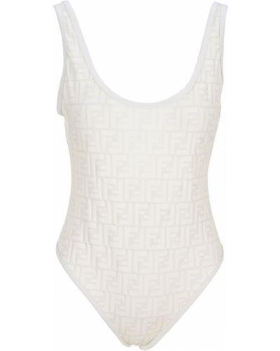 Biały stroj kąpielowy jednoczęściowy bez rękawów Fendi