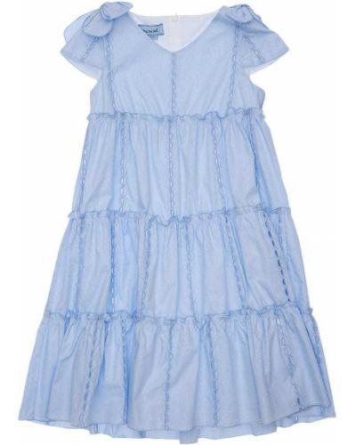 Niebieska sukienka z haftem Mimisol