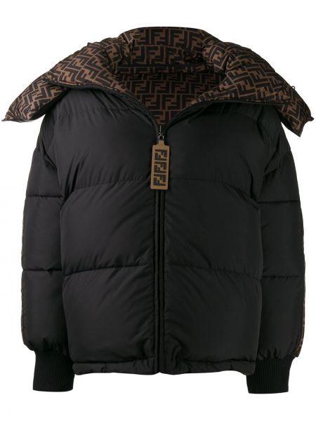 Черная куртка с капюшоном двусторонняя на молнии с перьями Fendi