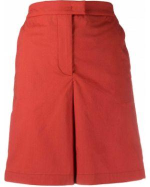 Хлопковые красные шорты с поясом на молнии Fay