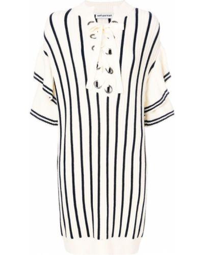Вязаное платье в полоску хлопковое Self-portrait