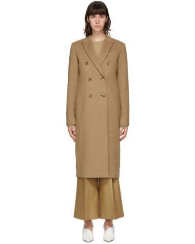 Шерстяное длинное пальто с воротником двубортное Joseph