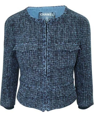 Niebieska kurtka tweedowa Chanel Vintage