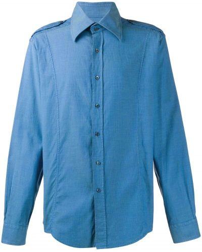 Рубашка с длинным рукавом винтажная синий Gucci Vintage