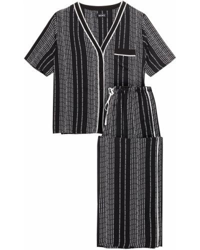 Черная пижама с карманами из вискозы Dkny