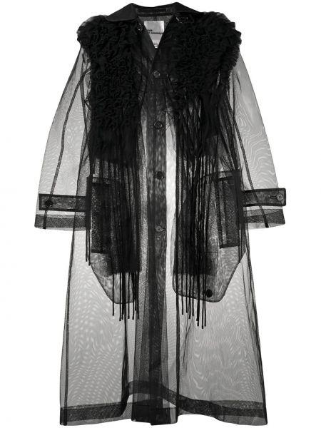 Черный длинное пальто прозрачный с оборками Comme Des Garçons Noir Kei Ninomiya