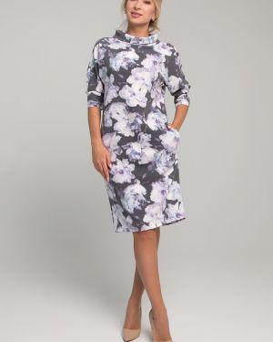 Деловое платье на пуговицах с цветочным принтом Sezoni