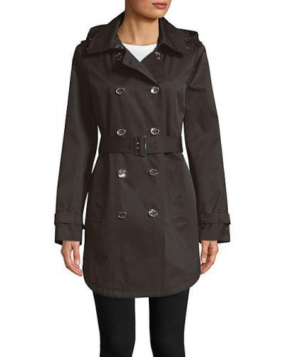 Черное пальто классическое с капюшоном с воротником Calvin Klein