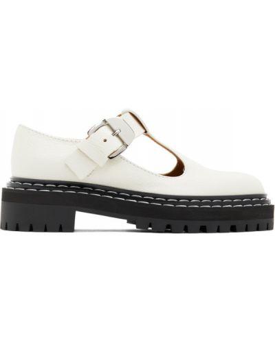 Кожаные белые туфли с круглым носом Proenza Schouler