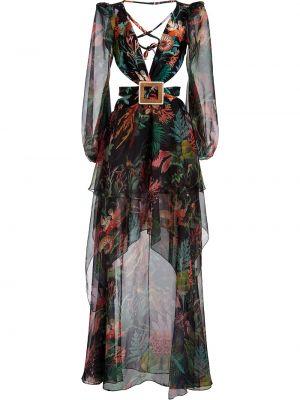 Платье макси с длинными рукавами - черное Patbo