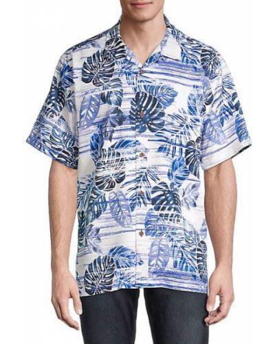 Шелковая синяя рубашка с короткими рукавами Tommy Bahama