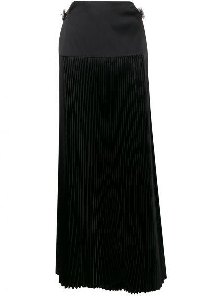Плиссированная черная кожаная юбка макси Alexandre Vauthier