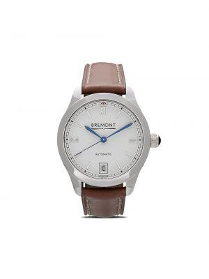Белые кожаные часы механические круглые Bremont