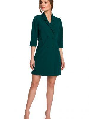 Zielona sukienka mini do pracy z paskiem Stylove
