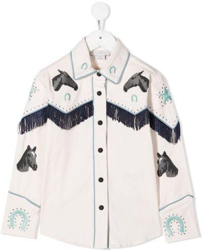 Puchaty klasyczna koszula z kołnierzem z haftem z mankietami Stella Mccartney Kids