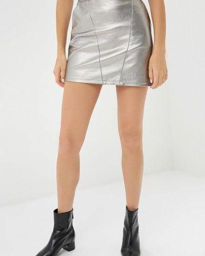 Кожаная юбка серебряного цвета Brave Soul