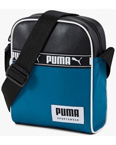Синяя кожаная сумка Puma