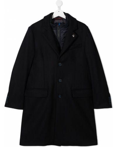 Синее с рукавами шерстяное пальто на пуговицах Fay Kids