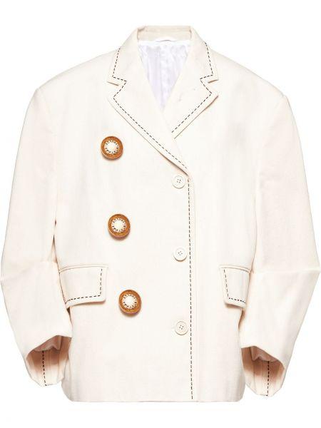 Хлопковая куртка на пуговицах с лацканами с карманами Miu Miu