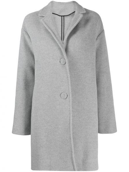 Серое пальто классическое с капюшоном на пуговицах Pringle Of Scotland