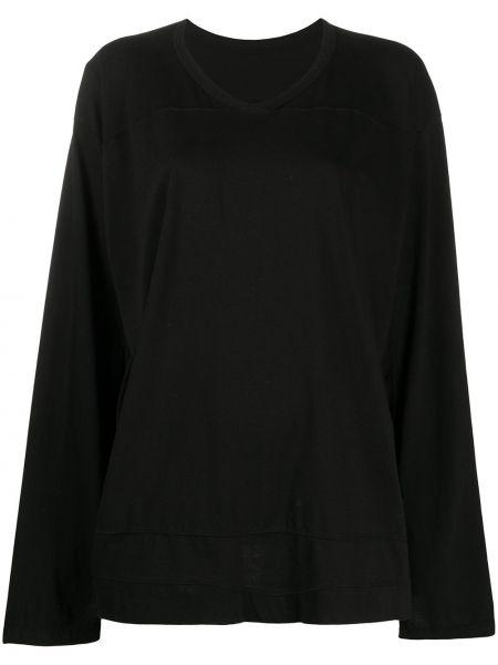Хлопковый черный свитер с V-образным вырезом свободного кроя Rick Owens Drkshdw