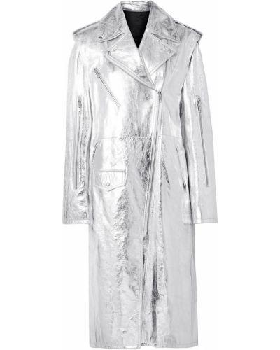 Серебряное кожаное пальто двустороннее Calvin Klein 205w39nyc