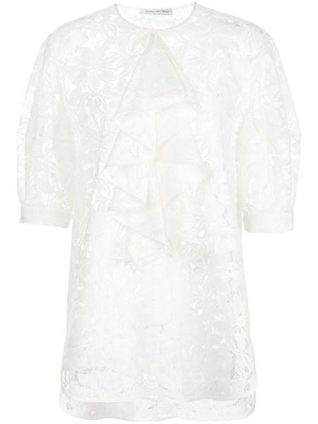 Ажурная блузка с оборками с вырезом из вискозы Oscar De La Renta