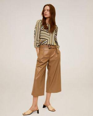 Блузка в полоску с пышными рукавами Mango
