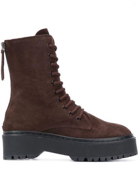 Кожаные ботинки на каблуке на шнуровке P.a.r.o.s.h.