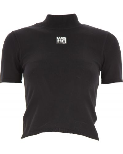 Z rękawami czarny t-shirt z wiskozy z kołnierzem Alexander Wang