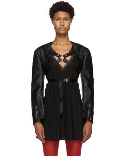 Черная стеганая кожаная длинная куртка Junya Watanabe