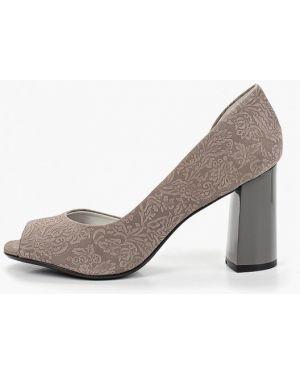 Туфли на каблуке серые с открытым носком Indiana