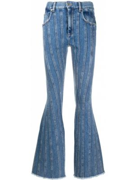 Хлопковые синие прямые джинсы с карманами на пуговицах Mugler
