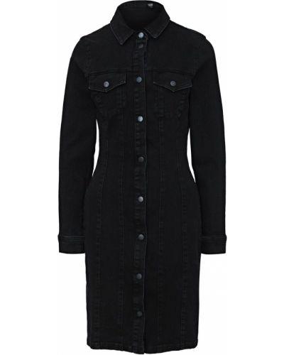 Черное джинсовое платье на кнопках Vero Moda