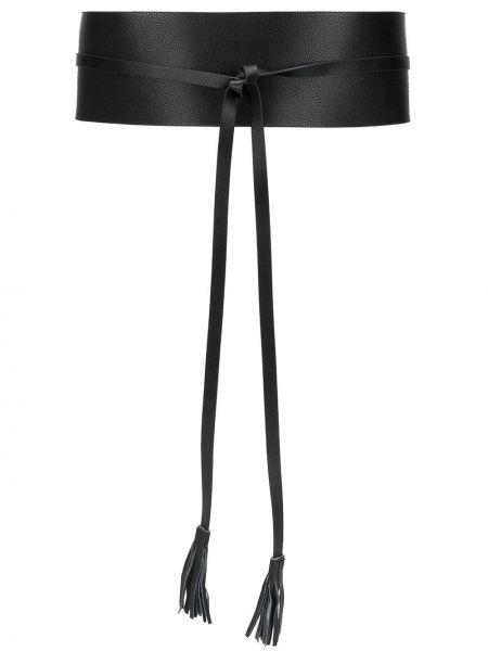 Кожаный черный ремень с поясом Twin-set