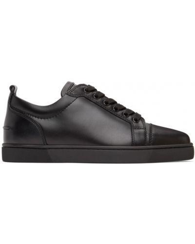 Czarne sneakersy sznurowane koronkowe Christian Louboutin