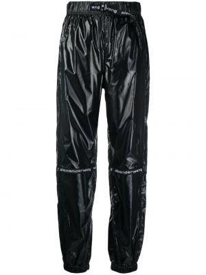 Czarne spodnie z nylonu z printem Alexander Wang