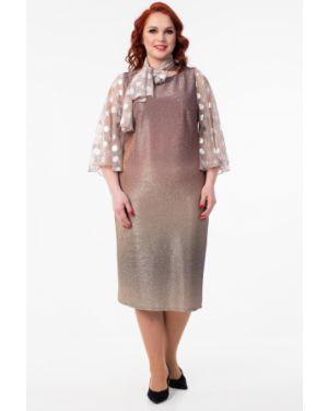 Платье с поясом розовое на молнии Wisell
