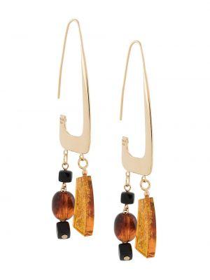 Pomarańczowe złote kolczyki sztyfty pozłacane Bar Jewellery