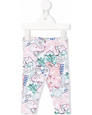Białe legginsy bawełniane z printem Kenzo Kids