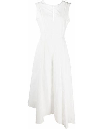 Шелковое белое платье миди с вырезом Brunello Cucinelli