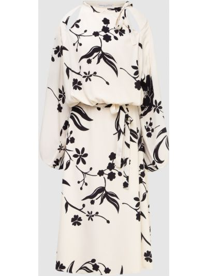 Бежевое шелковое платье миди Ermanno Scervino
