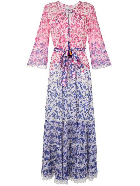Фиолетовое с рукавами платье макси в цветочный принт Hemant And Nandita