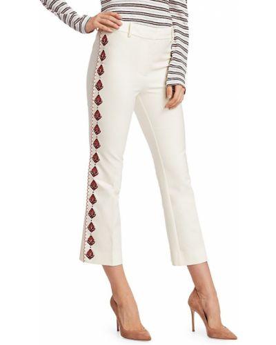 Расклешенные белые укороченные брюки с поясом Derek Lam