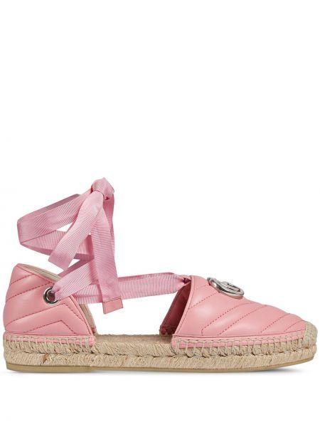 Кожаные розовые эспадрильи с завязками Gucci