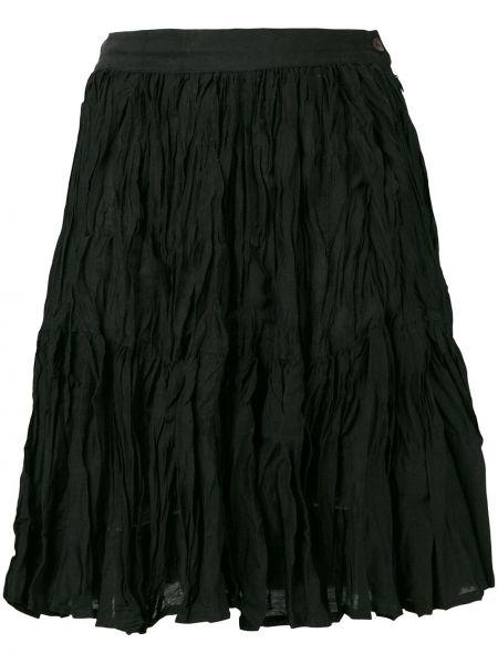 Плиссированная черная льняная юбка мини винтажная Kenzo Pre-owned