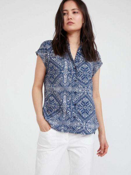 Свободная синяя расклешенная блузка с коротким рукавом Finn Flare