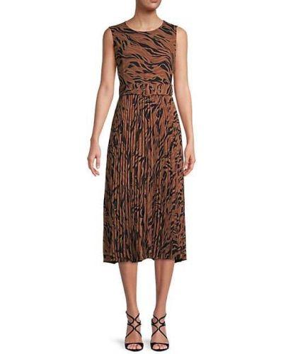 Черное платье с поясом без рукавов T-tahari