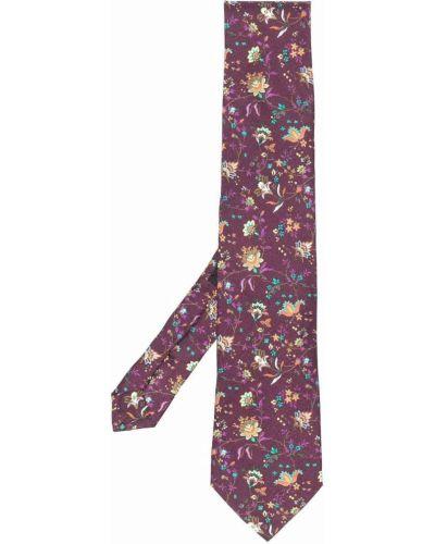 Krawat w kwiaty - fioletowy Etro