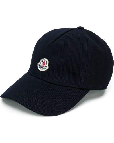 Niebieska czapka z haftem bawełniana Moncler